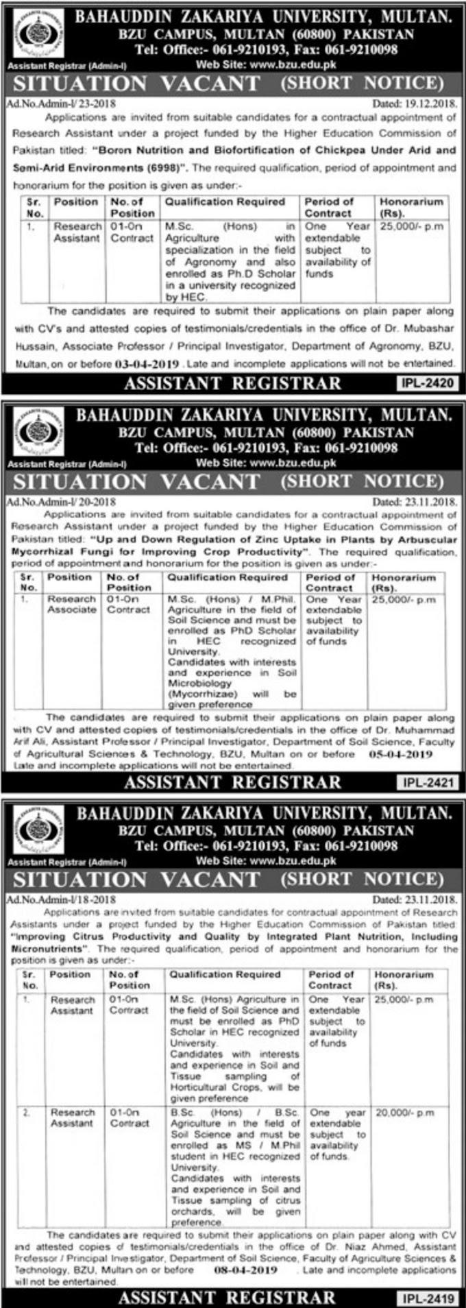 Bahauddin Zakariya University BZU Multan Jobs March 2019