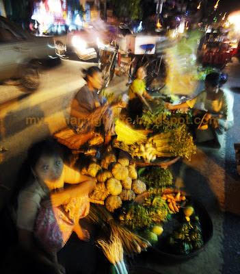 Myanmar nightlife Chinatown street market with good vegetables