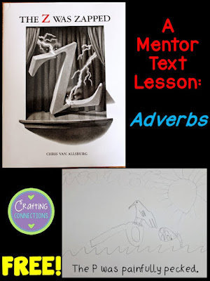 Check out this mentor text lesson idea that focuses on adverbs! After reading The Z was Zapped aloud and identifying the adverbs, challenge your students to draw an alternate page for each letter of the alphabet. Then, assemble the drawings into a class book and add it to your classroom library!