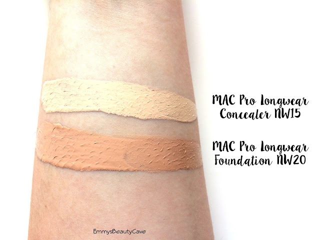 MAC Pro Longwear Foundation and Concealer Swatches NW15 NW20