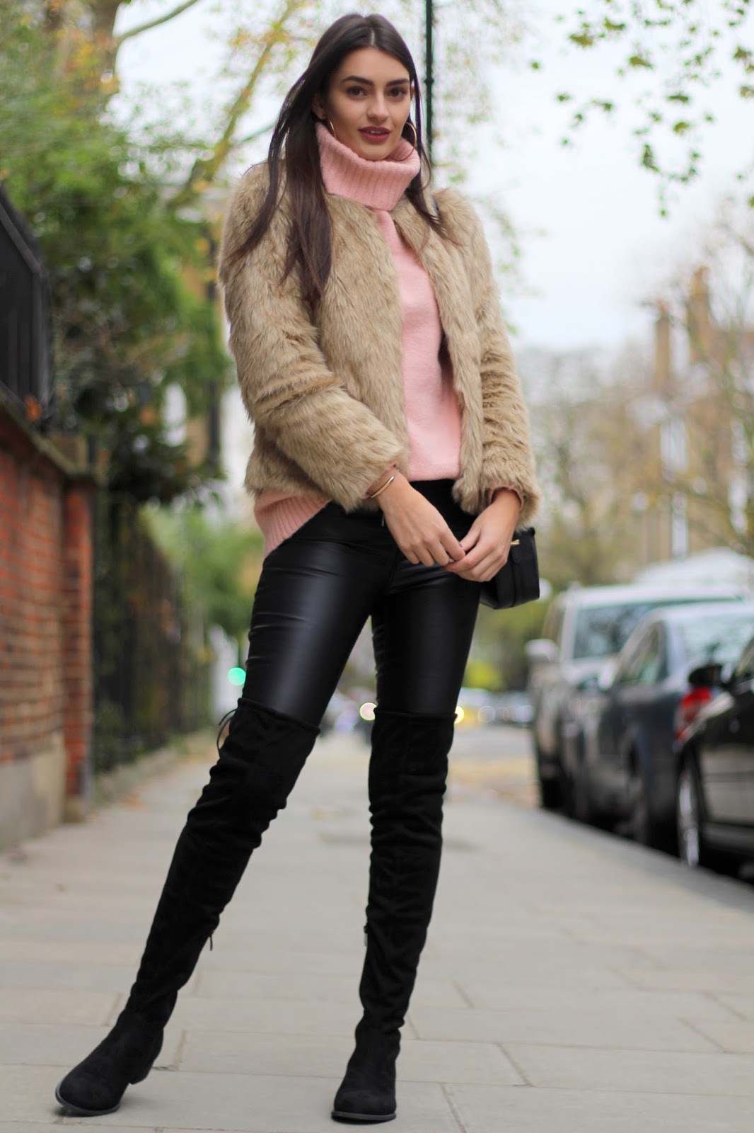 faux leather trousers OTK boots