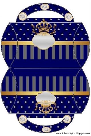 Cajas Almohada con alas  de Corona Dorada en Azul y Brillantes.