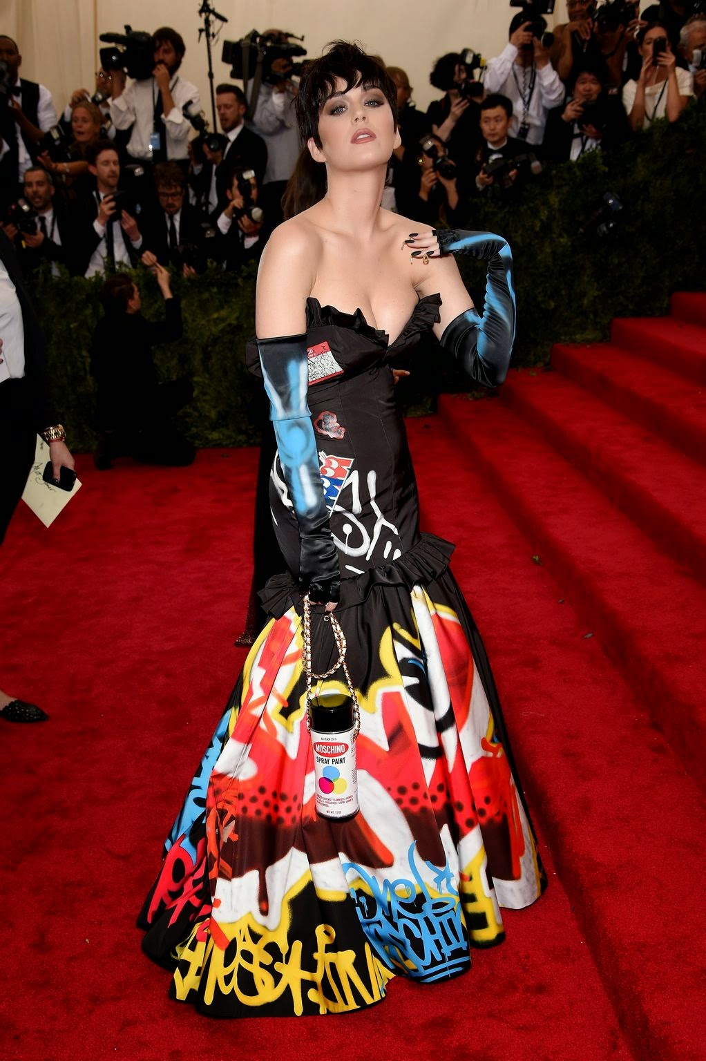 Katy Perry in a strapless Moschino graffiti gown at the 2015 Met Gala in NYC