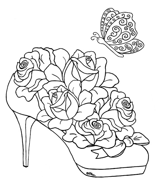 Coloring Pages Of Roses And Hearts Coloring Page