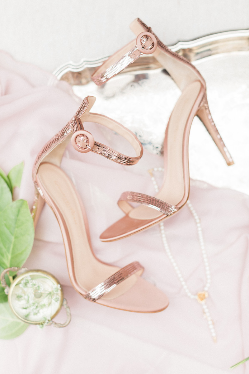 Gianvitto Rossi ankle strap sandal in rose gold