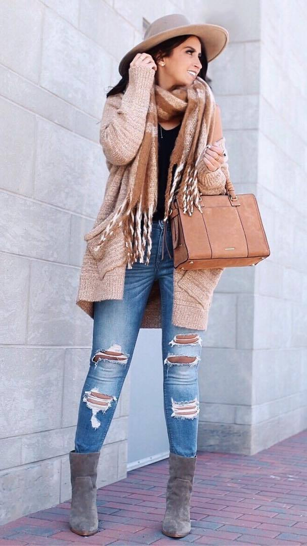 great fall outfit / scarf + hat + brown bag + cardi + top + ripped jeans + boots