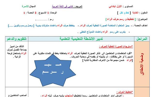 جذاذات الكتابة الوحدة 1 الأسبوع 3 حرف الراء.مرجع كتابي في اللغة العربية المستوى الأول