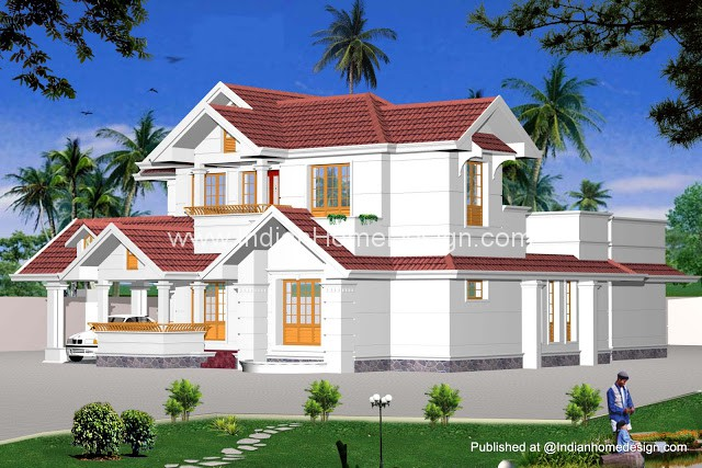 Indian model house plans exterior views for South indian model house plan