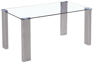 Mesa cristal y acero moderna