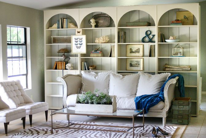 decorating large built-in bookcases