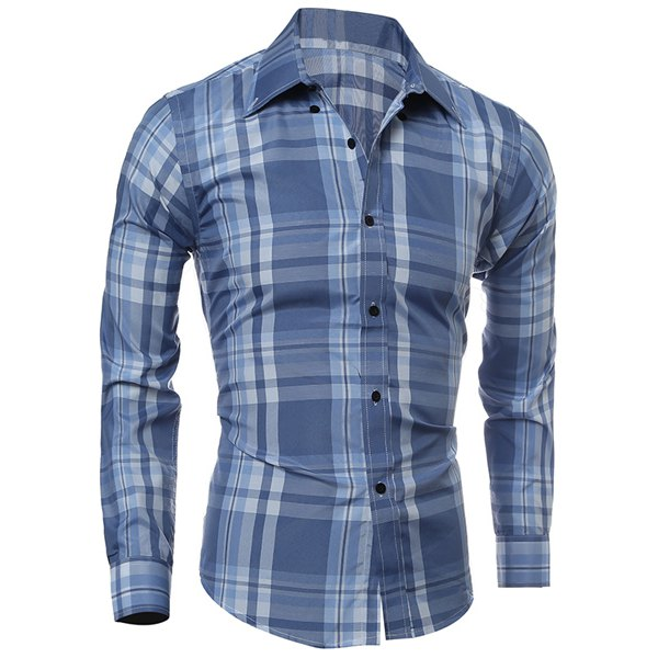 Classic Color Block Plaid PrintMulti-Button Slimming Shirt Collar Long Sleeves Men's Shirt - Light Blue Xl