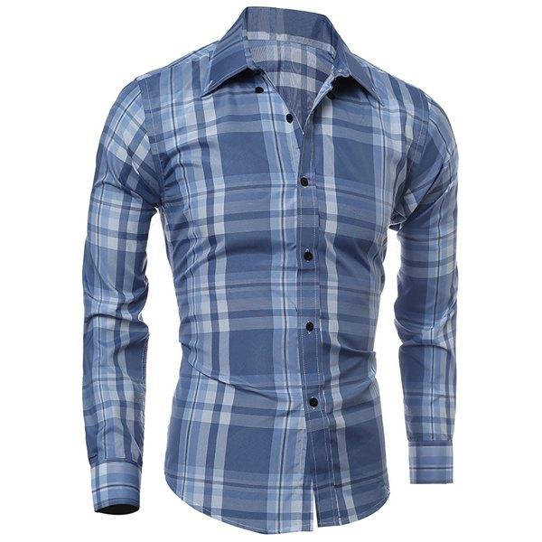 Classic Color Block Plaid PrintMulti-Button Slimming Shirt Collar Long Sleeves Men's Shirt - Light Blue Xl