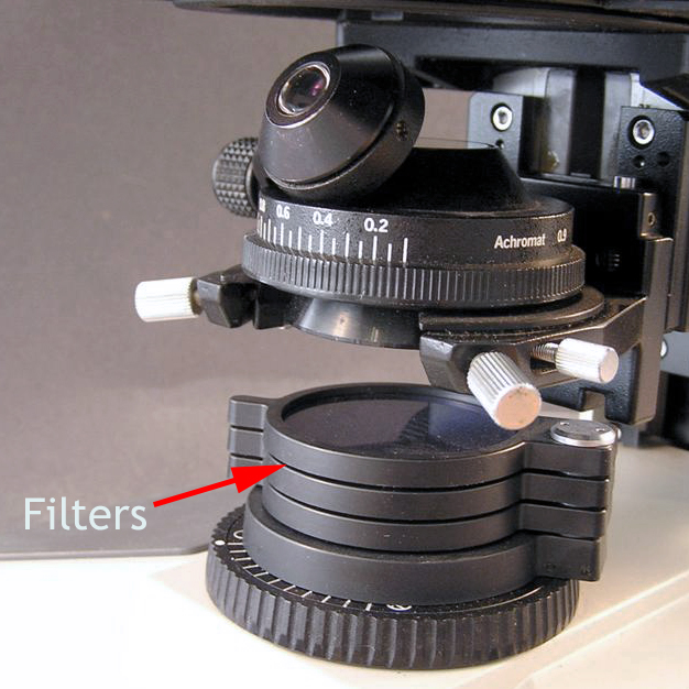 Microscope image showing swing-out filter holders above the light source.