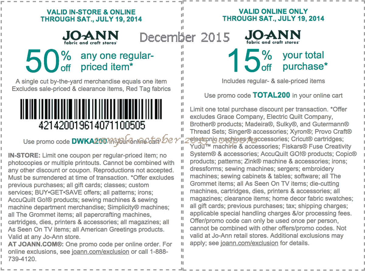 Joann Printable Coupons For October 2013
