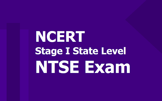 NCERT Stage I State Level NTSE Exam 2019, National Talent Search Exam on November 3