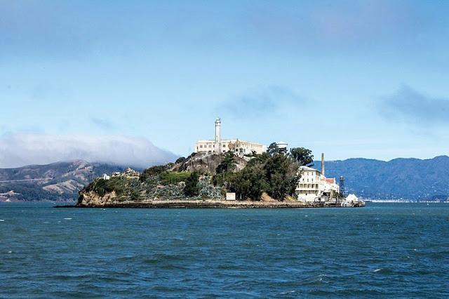 Landscape old prison building at Alcatraz Island