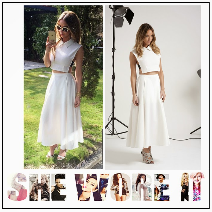 Celebrity Fashion, Co-ords, Collared, Crop Top, High Waisted, INTHESTYLE, Lauren Pope, Midi Skirt, Pleated, Side Detail, Skirt, Sleeveless, Split Side, The Only Way Is Essex, TOWIE, White,