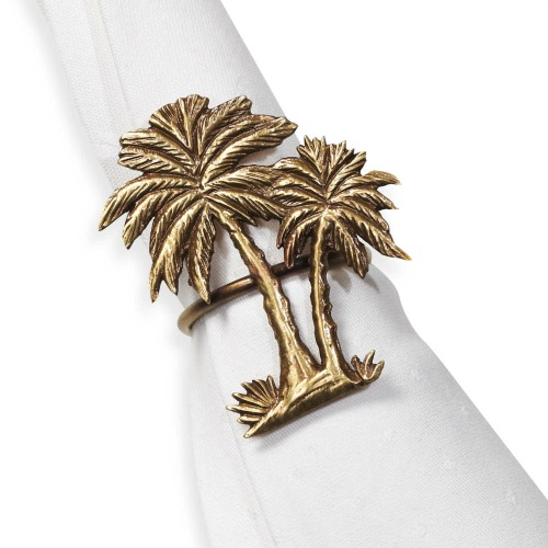 Gold Palm Trees Napkin Rings