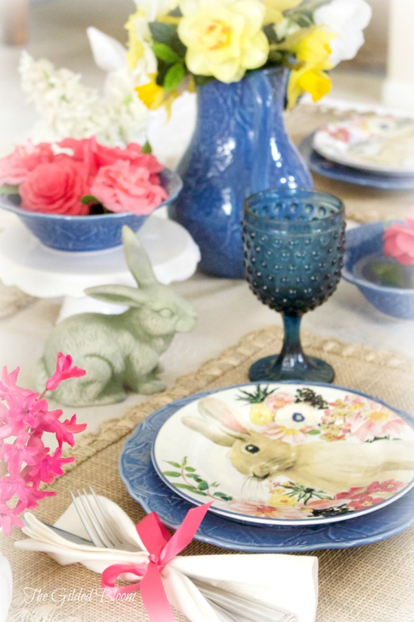 Bunny Brunch Table- Set a spring table with flowers and bunnies.  www.gildedbloom.com #tablessetting