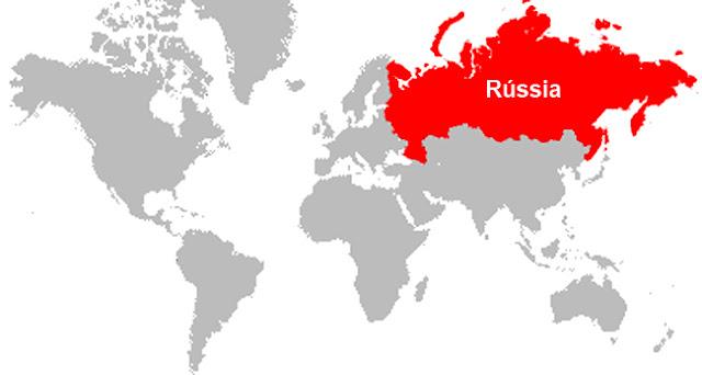 Rússia - dimensão - mapa