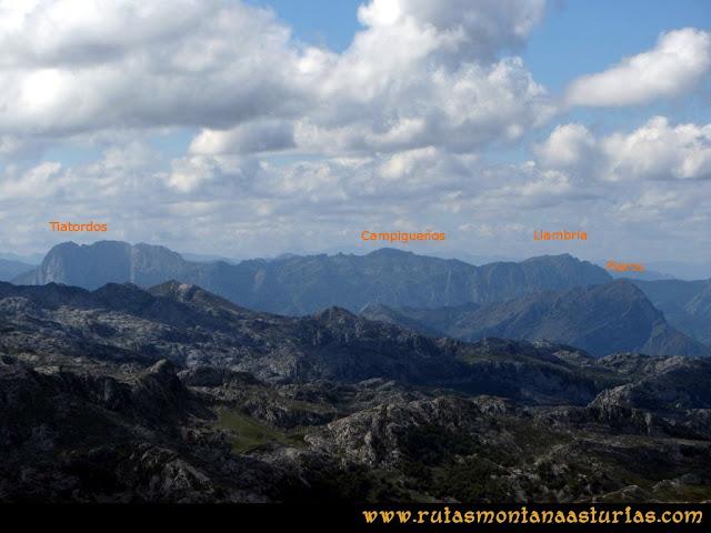 Ruta al Cabezo Llerosos desde La Molina: Vista del Tiatordos, Campigueños, Llambria y Pierzu desde el Cabezo Llerosos