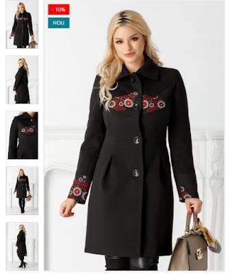Palton Moze dama elegant frumos negru cu broderie florala