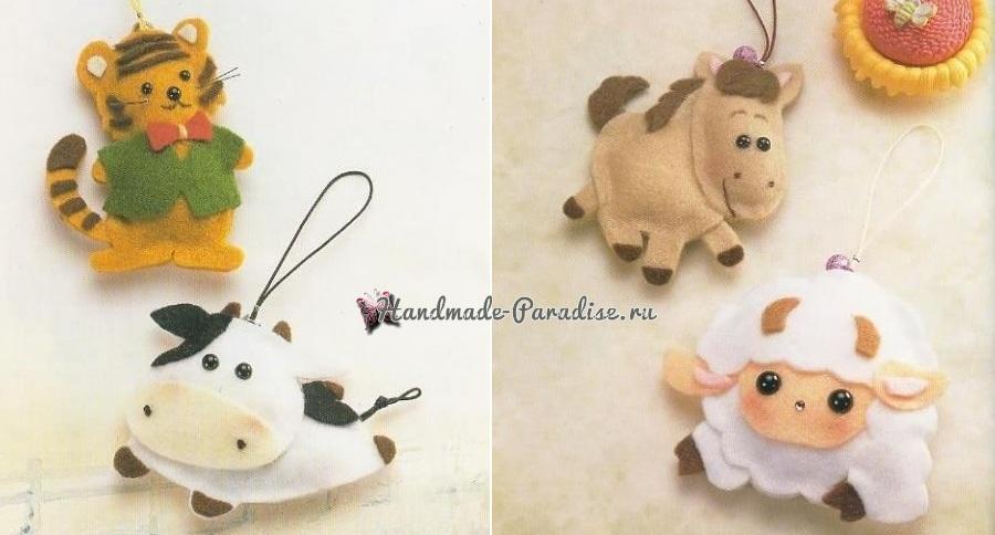 Тигренок, буренка, лошадка и овечка из фетра