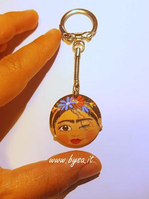 Frida Kahlo accessori dipinti a mano portachiavi