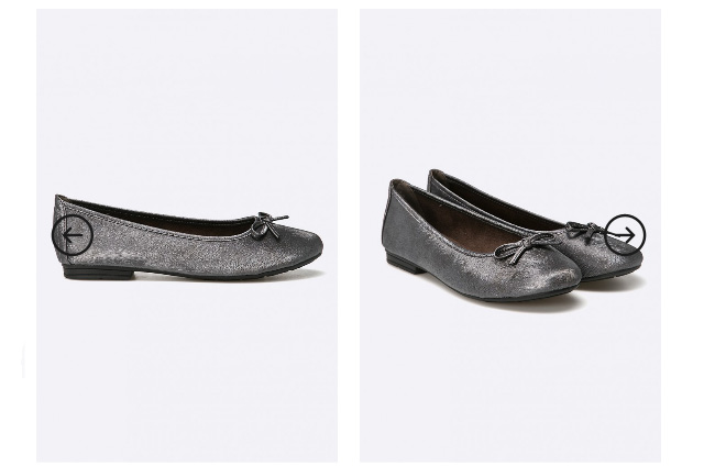 Balerini eleganti ieftini negru-argintii Jana