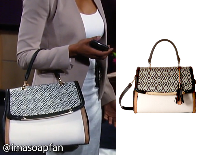 Jordan Ashford's Printed Top Handle Satchel - General Hospital, Season 54, Episode 09/29/16