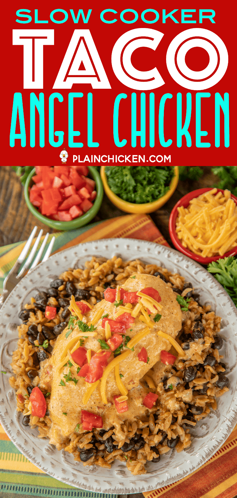 Slow Cooker Taco Chicken Chicken - a weeknight family favorite!! Only 6 ingredients! Chicken, cream cheese, cream of chicken soup, chicken broth, taco seasoning and Rotel diced tomatoes and green chiles. Serve over Mexican rice and black beans, pasta, grits, rice or potatoes. Everyone cleaned their plate and asked for seconds! That never happens!!! This recipe is a keeper! #slowcooker #chicken #weeknightdinner #mexican #mexicanchicken #crockpot