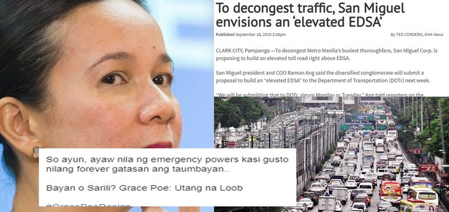 Netizen blogger calls Grace Poe to resign amid news San Miguel Corp's proposal to build 10-lane elevated EDSA. Find out what's the connection? | PTN