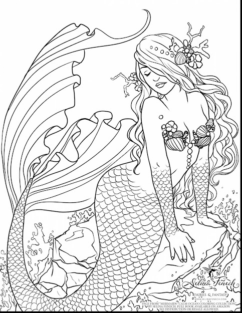 Stunning Adult Printable Mermaid Coloring Pages With Fairy Coloring Pages  For Adults And Fairy Coloring Pages