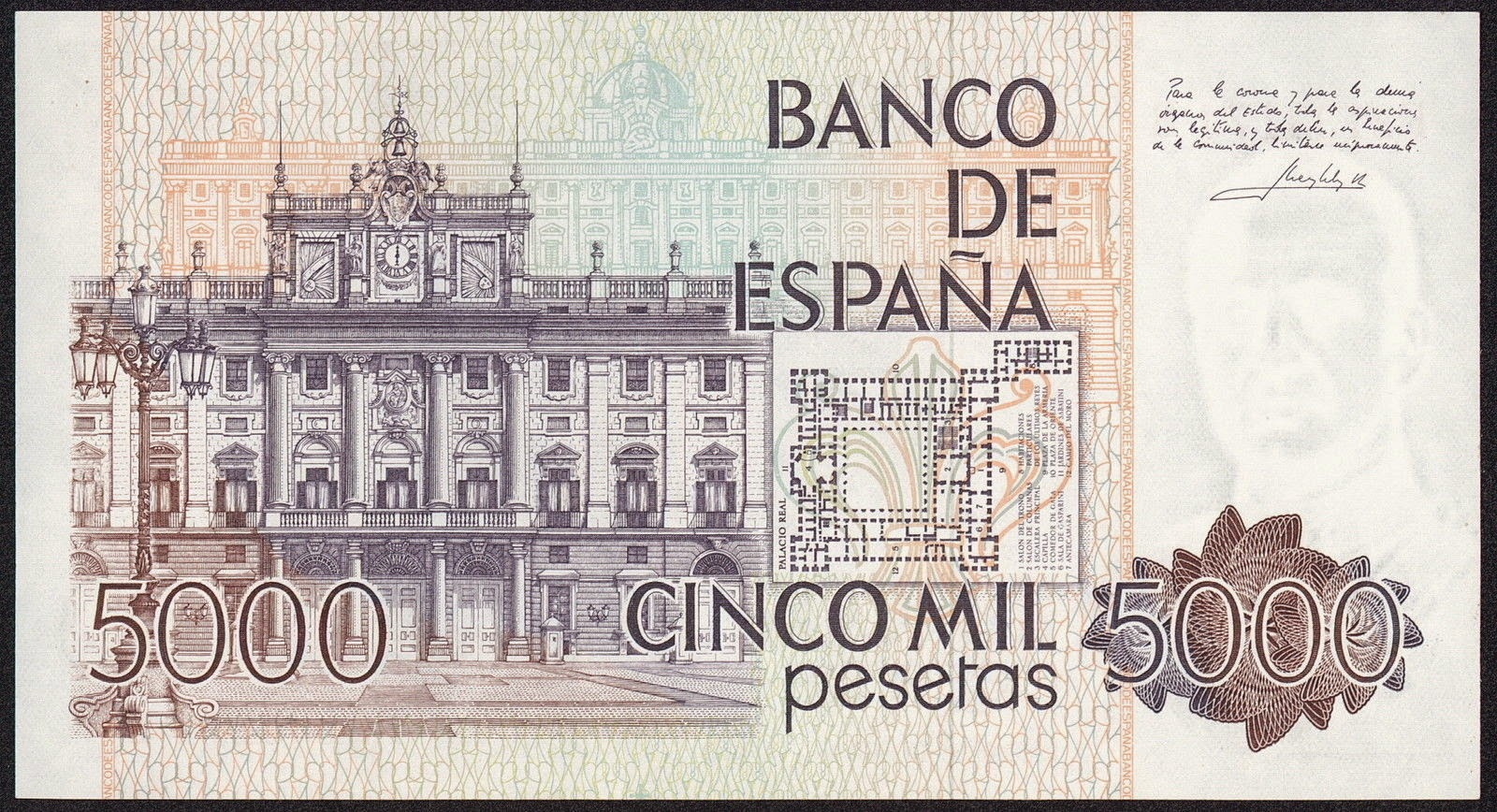 Spain Money Currency 5000 Pesetas banknote 1979 Royal Palace of Madrid