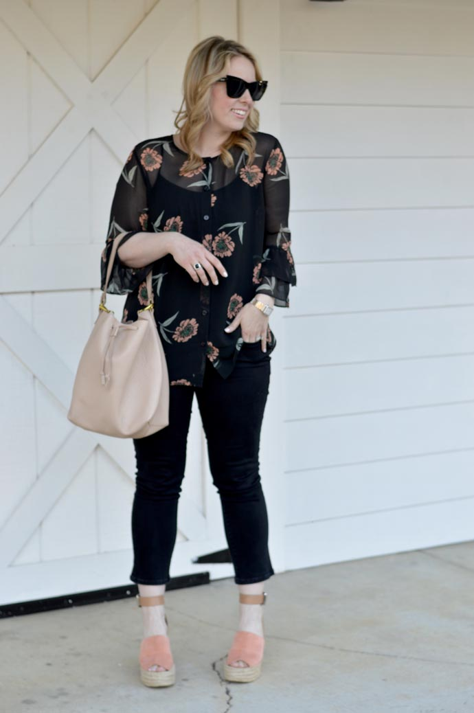 cabi floral bell sleeve blouse