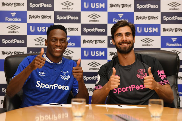 Yerry Mina and Andre Gomes sign for Everton from Barcelona