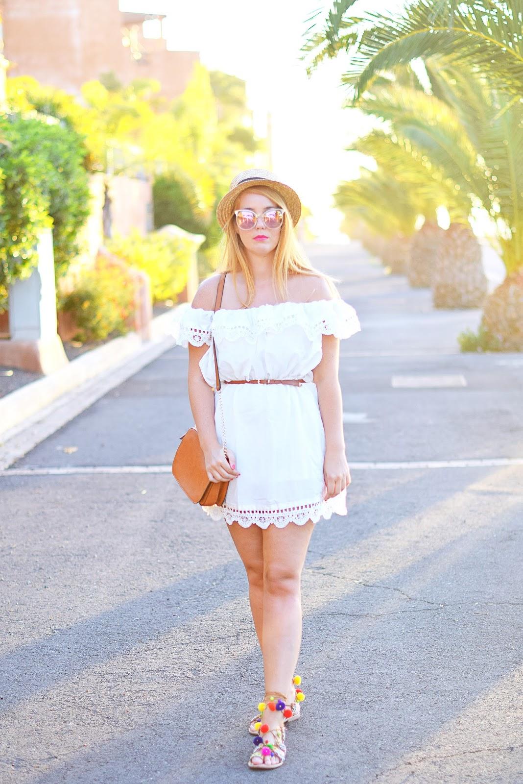 dress with off-shoulder, nery hdez, gioseppo, sandalias pom pom, borsalino, zerouv