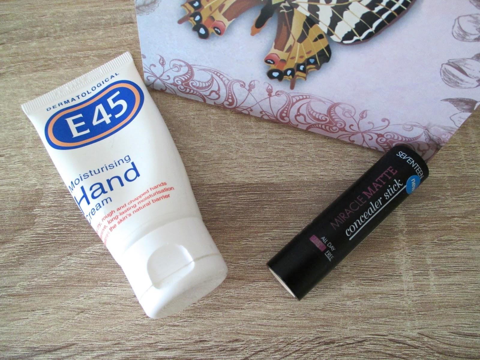 E45 hand cream and Seventeen concealer