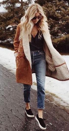 winter trends / brown coat + top + jeans + sneakers