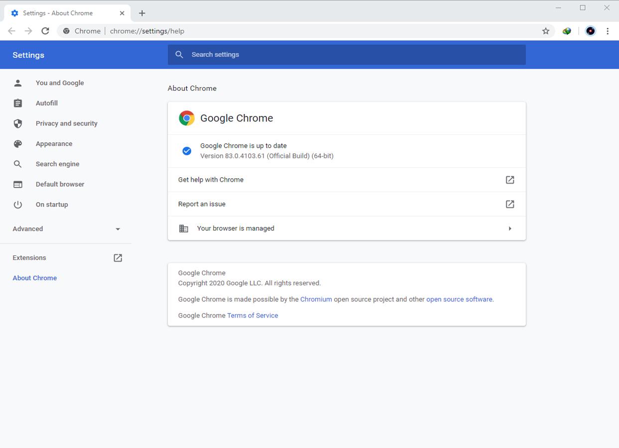Google Chrome Browser 83.0.4103.61