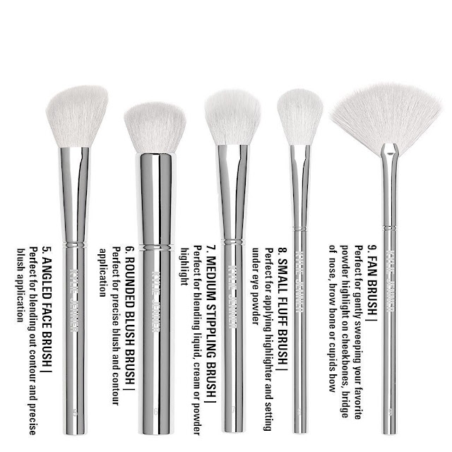 Kylie Jenner Cosmetics Makeup Brushes Silver Series