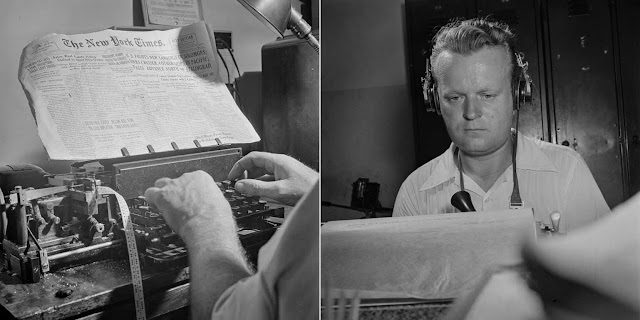 (Left) In the radio room, news is sent out twice daily in code by the Times' short wave transmitter and received by ships. (Right) A short wave radio operator receives and records messages from a correspondent in Switzerland.