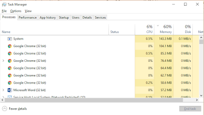 Checking memory and processor usage in Windows 10 Task Manager