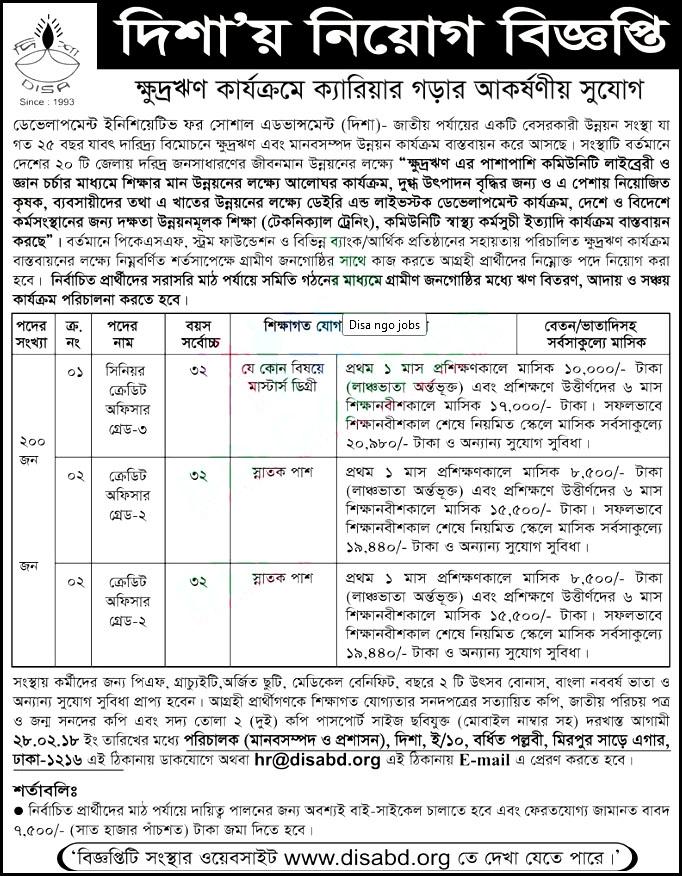 Disa NGO Jobs Circular 2018