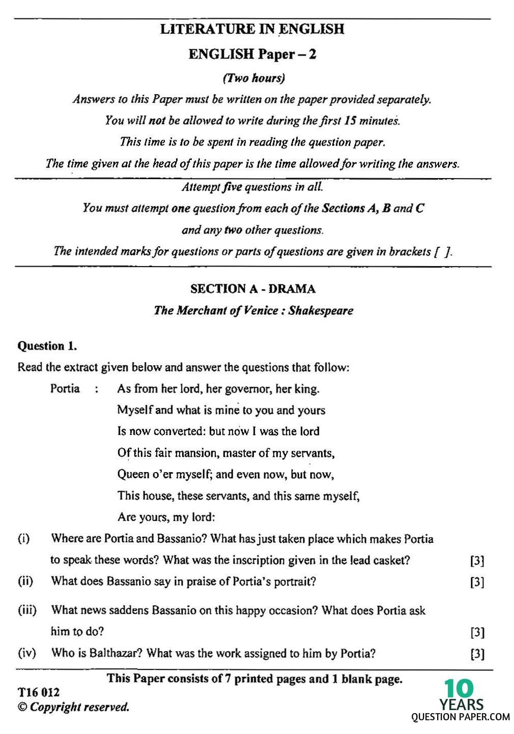 icse english paper english literature class x years icse 2016 class 10th english paper 2 question paper