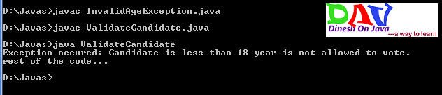 User defined Exception in Java
