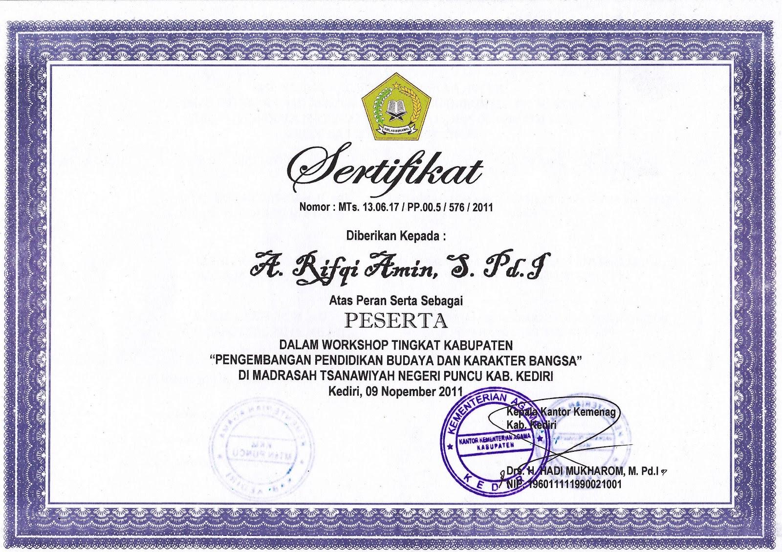 contoh sertifikat kegiatan