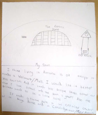 Child's note with drawings of a clock tower and a domed building