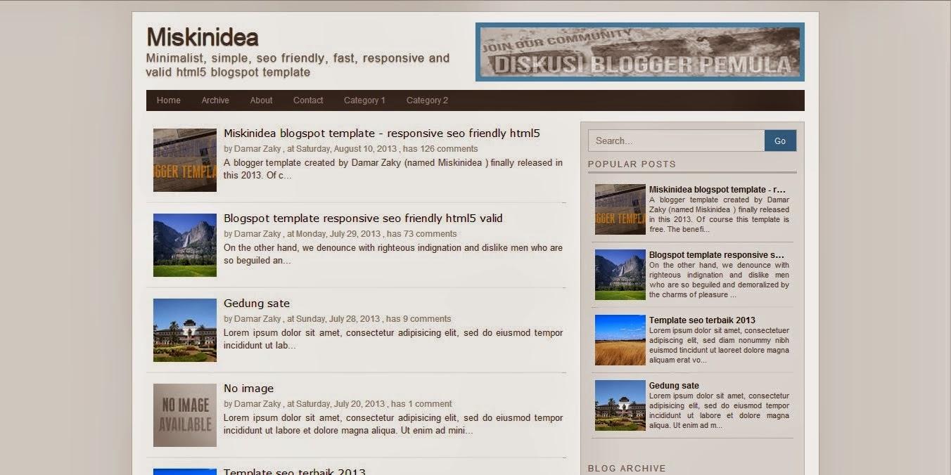 MiskinIdea - Fast Loading 100% Blogger Template