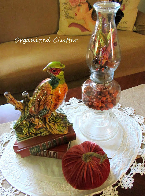 Enesco Vintage Pheasant Figurine, Velvet Pumpkin and Decorated Oil Lamp
